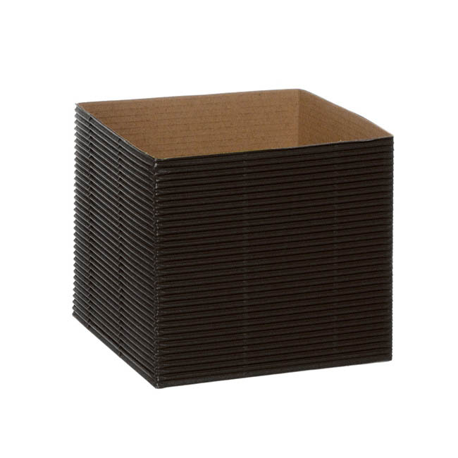 Posie Flower Box Mini - Mini Corrugated Posy Box Black (13x13x12cmH) Pack 10