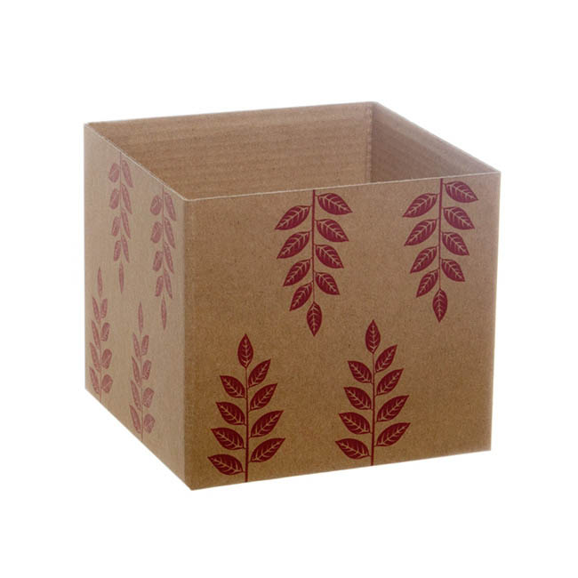Eco Leaves Kraft Mini Posy Box Red (13x12cmH)