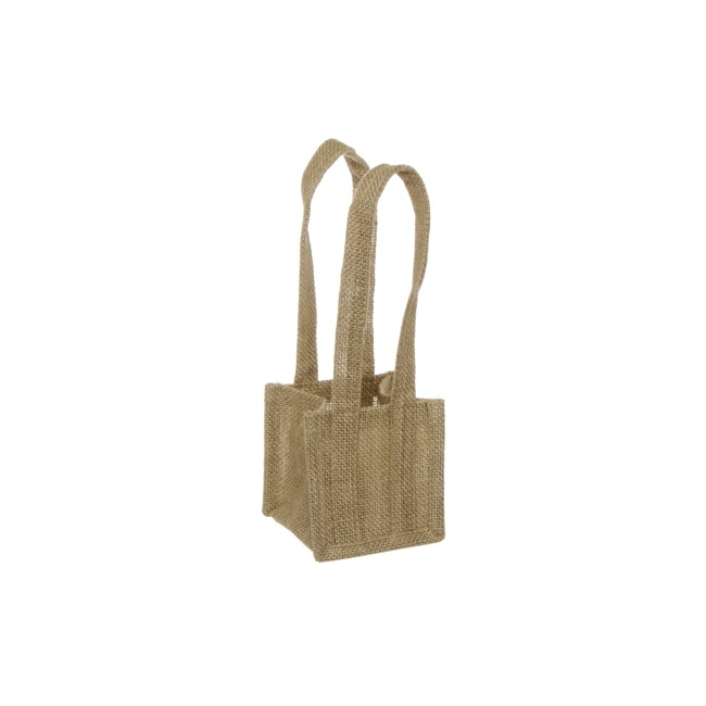 Natural Jute Posy Bag With Plastic Liner (10.5x10.5x10.5cmH)