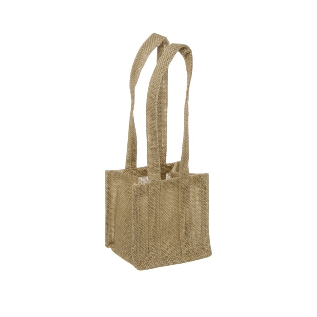 Jute Posy Gift Bags - Natural Jute Posy Bag With Plastic Liner (13.5x13.5x13.5cmH)