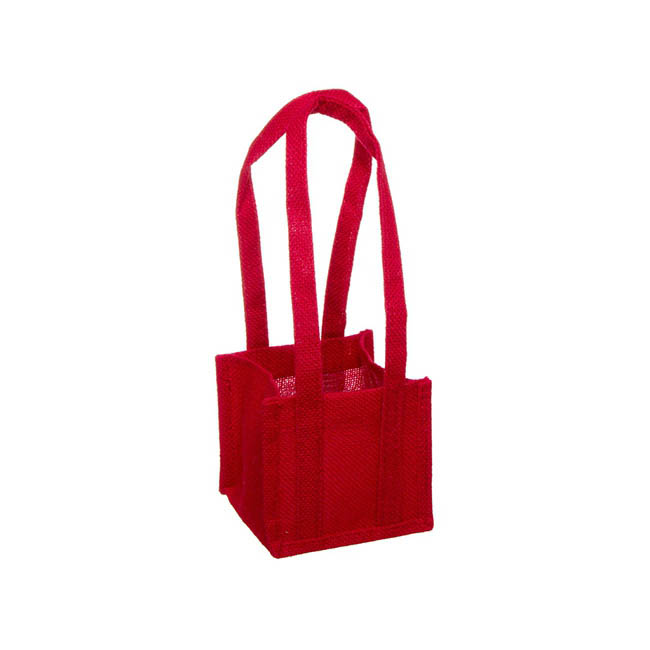 Jute Posy Bag With Plastic Liner Red (13.5x13.5x12.5cmH)