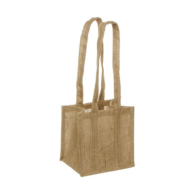 Natural Jute Posy Bag With Plastic Liner (17.5x17.5x14cmH)