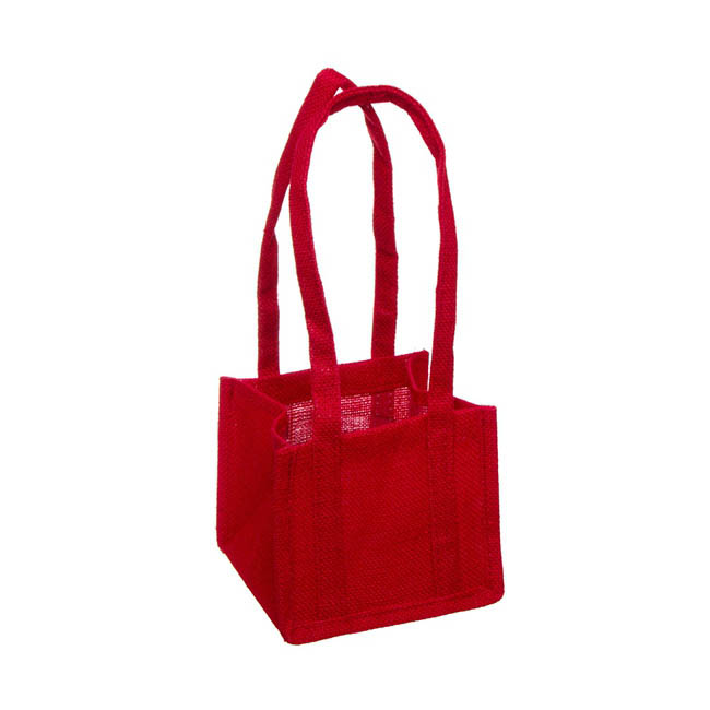Jute Posy Bag With Plastic Liner Red (17.5x17.5x14cmH)