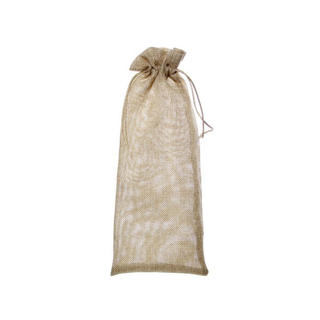 Wine Gift Bags - Wine Pouch Poly Flax Natural (13x32cmH) Pack 10