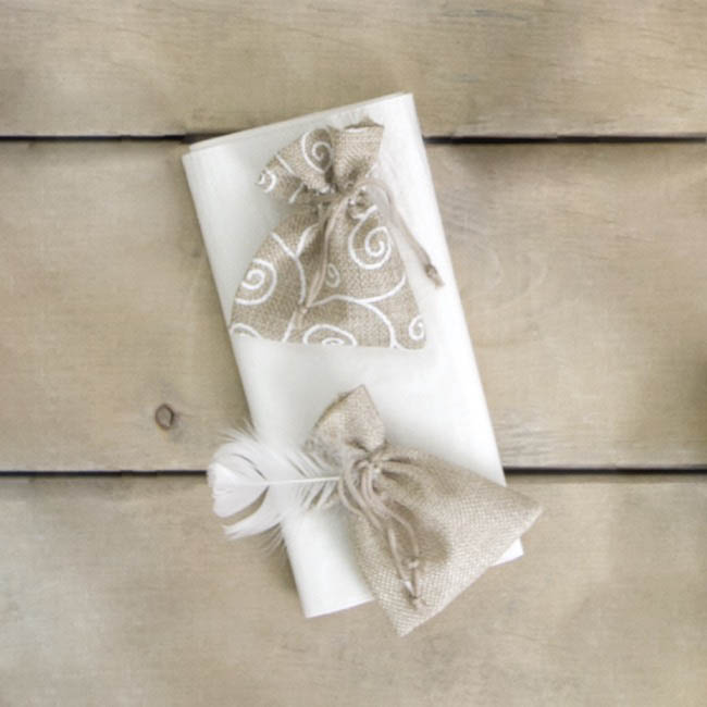 Jute & Linen Favour Bags - Poly Flax Pouch White Swirl Small Natural (8x10cmH) Pack 10