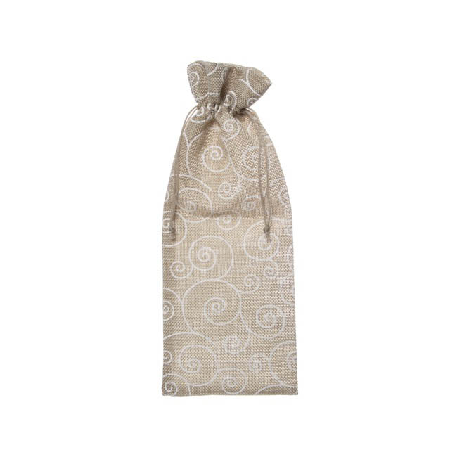 Wine Gift Bags - Fabric Wine Bag Pk 10 Poly Jute Wh Swirl Natural (13x32cmH)