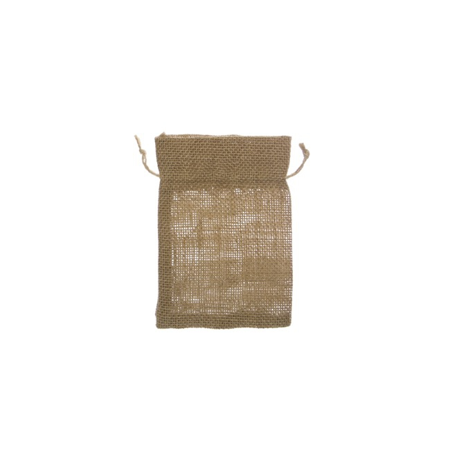 Jute & Linen Favour Bags - Hessian Jute Pouch Small Natural (8x10cmH) Pack 10