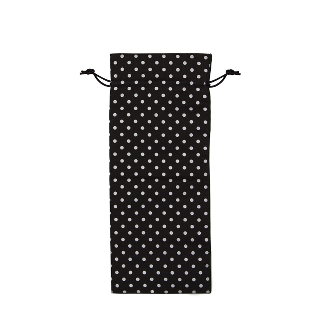 Wine Gift Bags - Wine Pouch Cotton Dot Black (13x32cmH) Pack 10