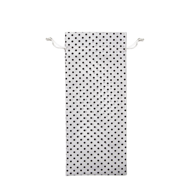 Wine Gift Bags - Wine Pouch Cotton Dot White Black (13x32cmH) Pack 10