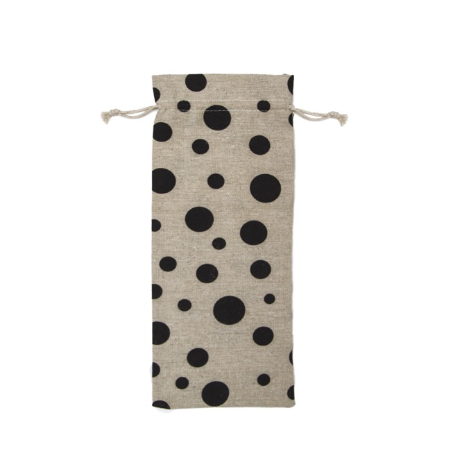 Wine Gift Bags - Fabric Wine Bag Large Dot Black (13x31cmH) Pack 10
