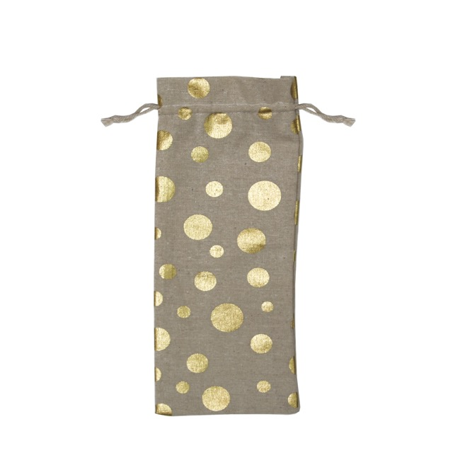 Wine Gift Bags - Wine Pouch Fabric Large Metallic Gold Dot (13x31cmH) Pack 10