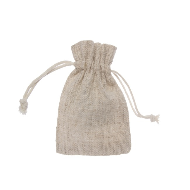 Jute & Linen Favour Bags - Linen Look Drawstring Pouch Medium Natural(12x17cmH) Pack 10