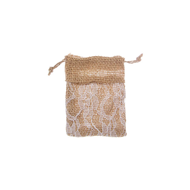 Jute & Linen Favour Bags - Hessian Drawstring Pouch Lace Small Natural(8x10cmH) Pack 10