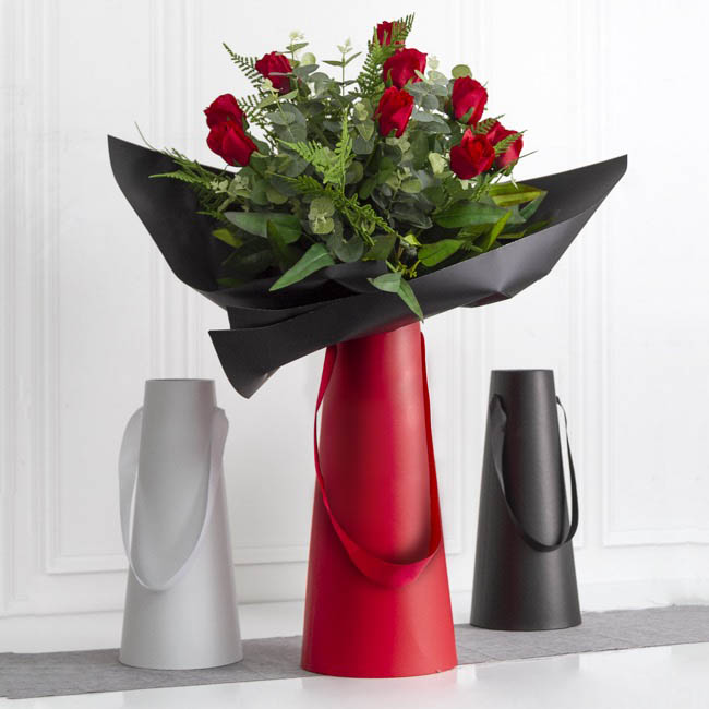 Vase Box - Flower Conical Vase Rigid Sml Black (9cmx16cmx36cmH)