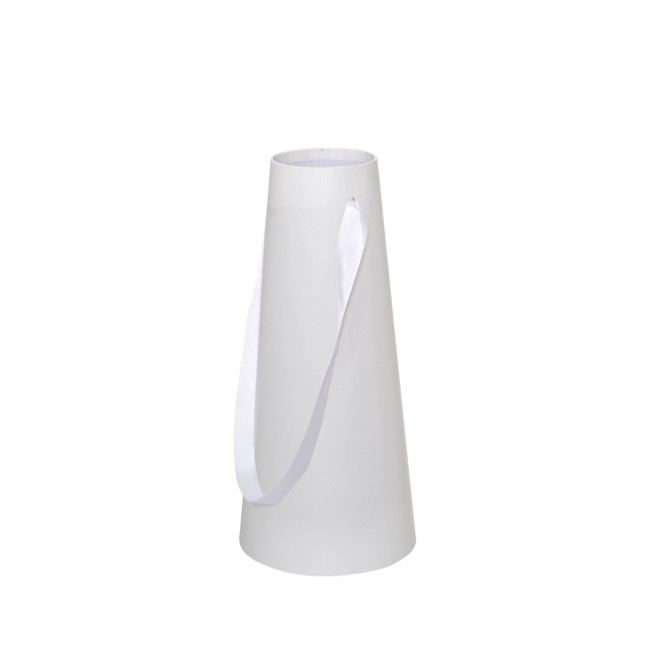 Vase Box - Flower Conical Vase Rigid Sml White (9cmx16cmx36cmH)