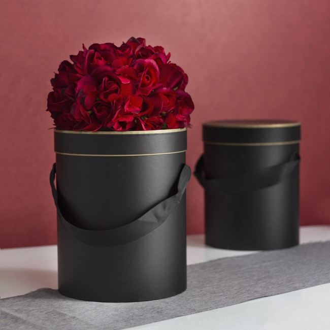 Gift Boxes Sets & Hat Boxes - Hat Flower Box Deluxe Silhouette Blk Gold(24.5Dx30cmH)Set 3