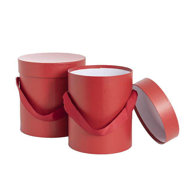 Gift Boxes Sets & Hat Boxes - Hat Gift Box Deluxe with Handle Blood Red (20Dx22cmH) Set 2