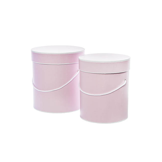 Gift Boxes Sets & Hat Boxes - Hat Gift Box Deluxe with Handle Baby Pink (20Dx22cmH) Set 2