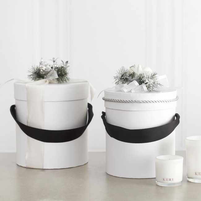 Gift Boxes Sets & Hat Boxes - Hat Gift Box Deluxe with Handle White (20Dx22cmH) Set 2