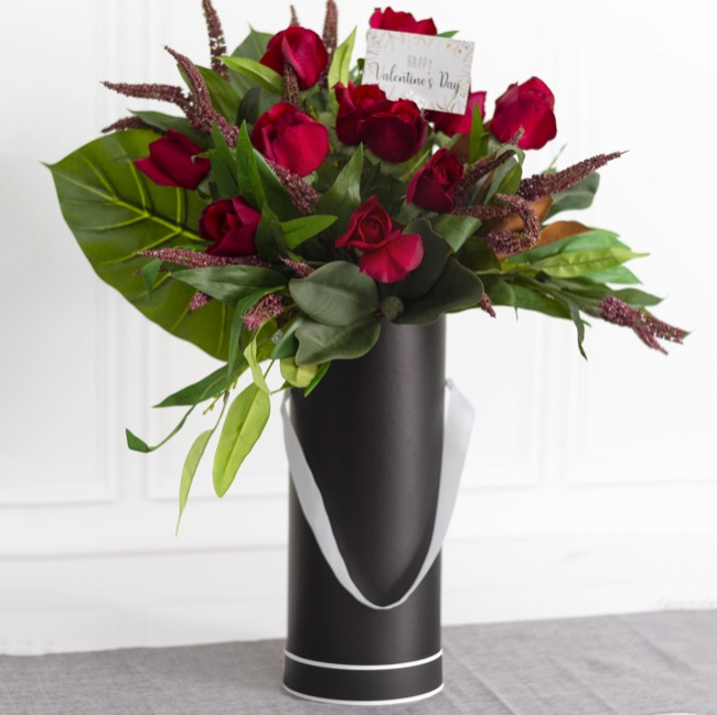 Vase Box - Flower Box Tall Cylinder Deluxe 40cm Roses Black (15Dx36cmH)