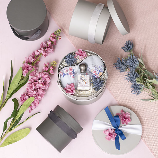 Gift Boxes Sets & Hat Boxes - Flower Cylinder Hat Box Set 3 Light Grey (18.5cmx15cmH)