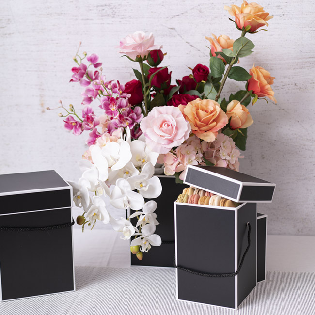 Gift Boxes Sets & Hat Boxes - Gift Flower Box Deluxe Square Silhouette Blk(18x25cmH)Set 3