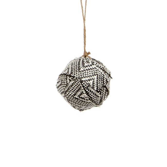 Aztec Fabric Ball Hanging (8cmD) Black White