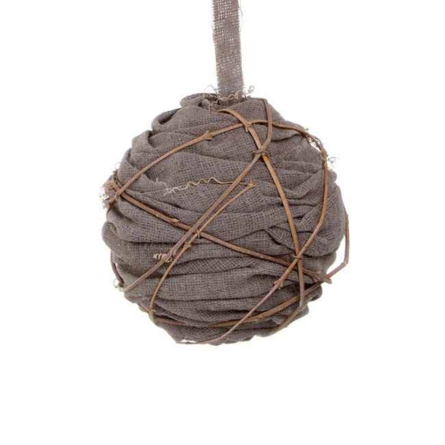 Rattan Hanging Linen Ball Brown (18cmD)