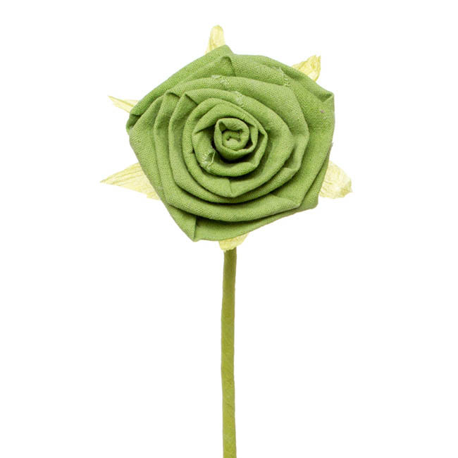 Fabric Rose Jute Stem Lime (11cm x 28cmH)