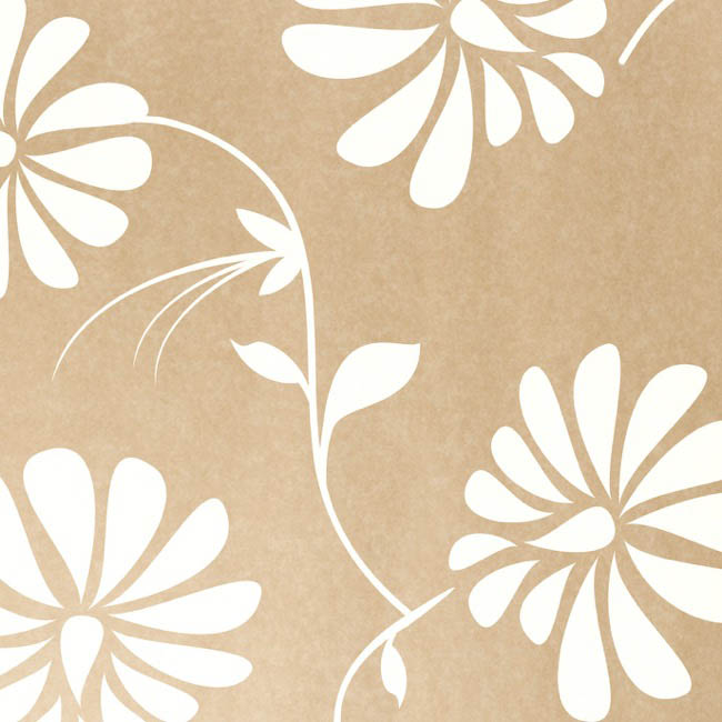 Coloured Kraft Paper - Brown Kraft Paper 50gsm Floral White (50x70cm) Pack 100
