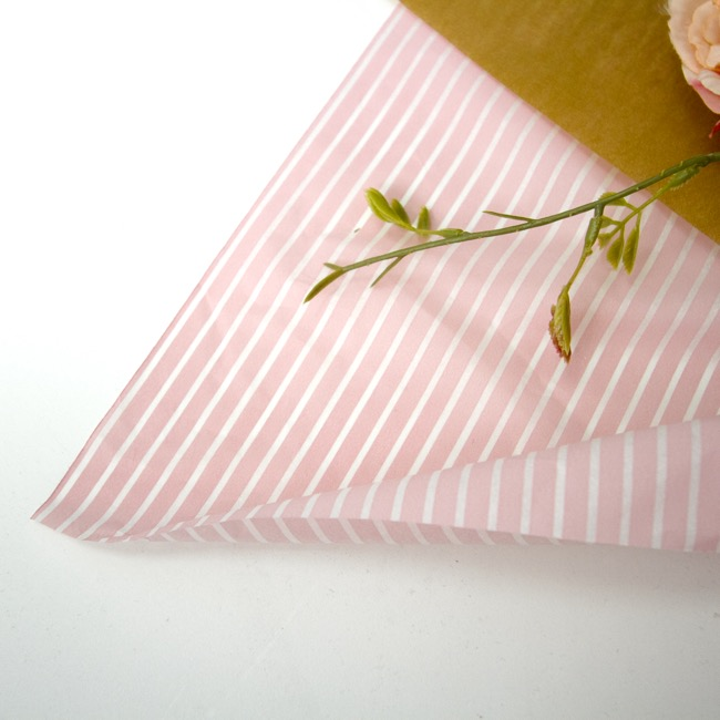 Tissue Paper - Tissue Paper 17gsm Thin Stripe Dusty Pink (50x70cm) Pack 100
