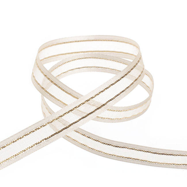 Ribbon Sheer Satin Gold Thread Cream (10mmx20m)