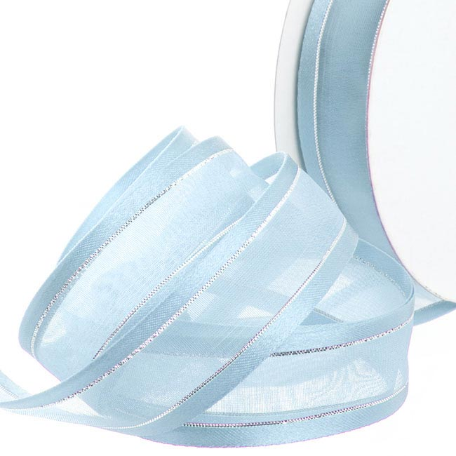 Ribbon Sheer Satin Silver Thread Baby Blue (22mmx20m)