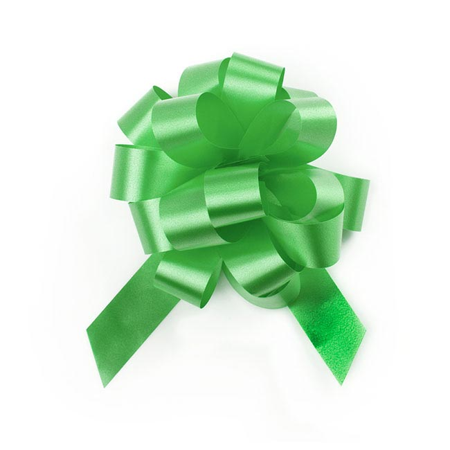 Pull Bows - Ribbon Pull Bow Pom Pom Lime (18mmx8.75cmD) Pack 5