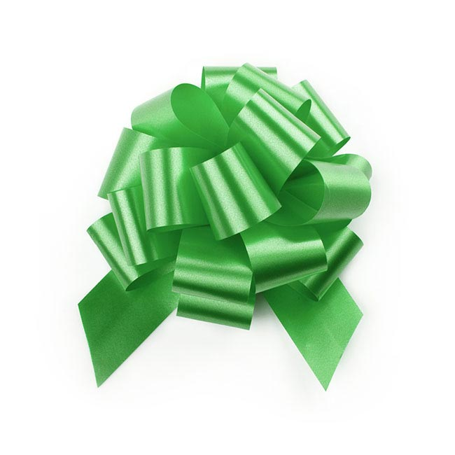 Pull Bows - Ribbon Pull Bow Pom Pom Lime (12.5cmx32mm) Pack 5