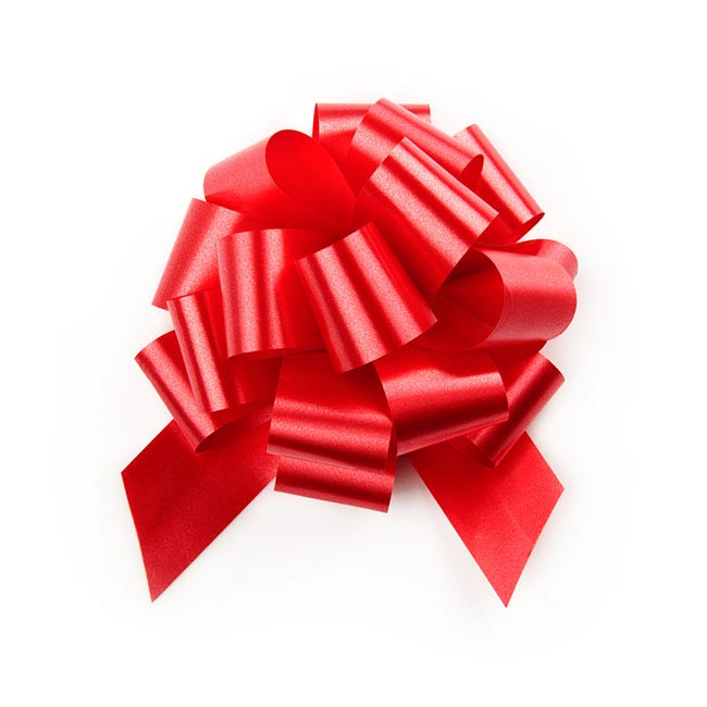 Ribbon Pull Bow Pom Pom 5 Pack Red (12.5cmx32mm)