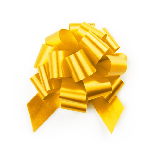 Ribbon Pull Bow Pom Pom 5 Pack Yellow (12.5cmx32mm)