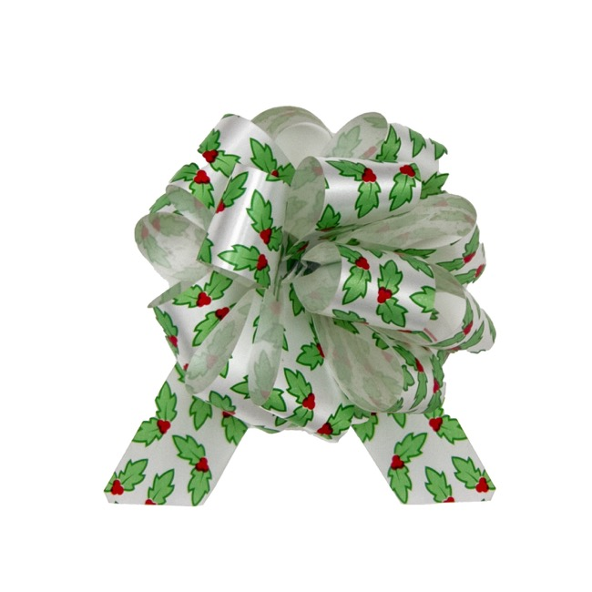 Christmas Ribbon & Bows - Ribbon Pull Bow Pom Pom Holly White Green (30mmx12.5cm)Pk5
