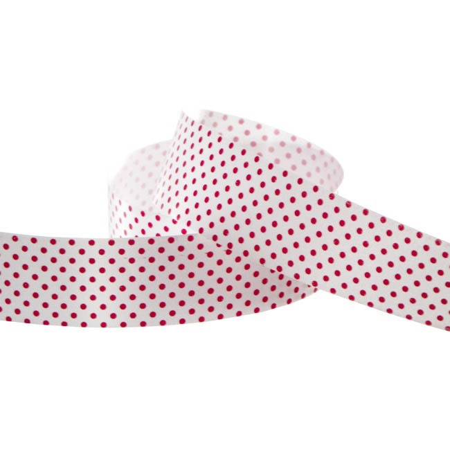 Pattern Tear Ribbons - Ribbon Tear White with Red Dots (30mmx91m)