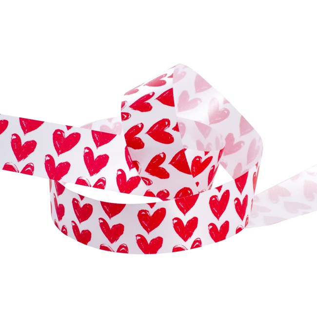 Valentines Ribbons & Bows - Ribbon Tear White with Red Hearts (10mmx50m)