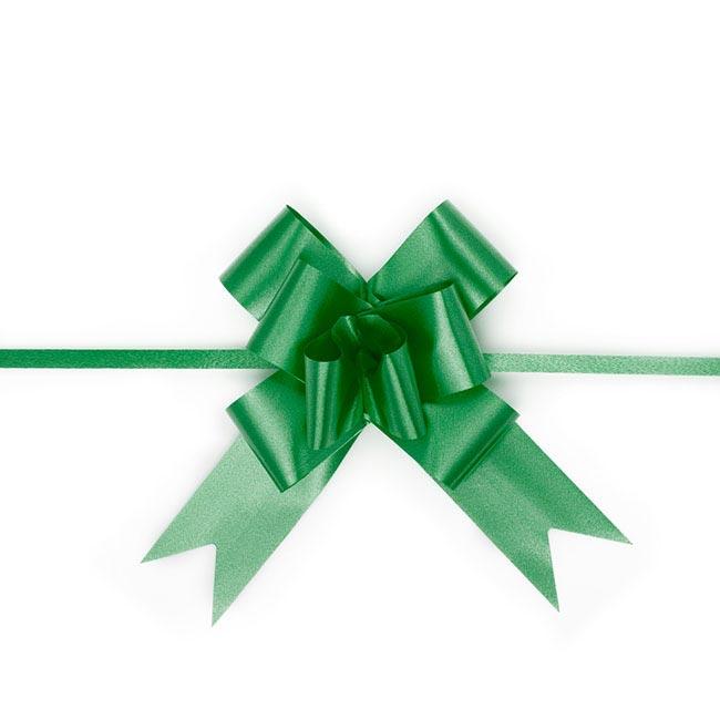 Pull Bows - Ribbon Pull Bow Emerald Green (32mmx53cm) Pack 25