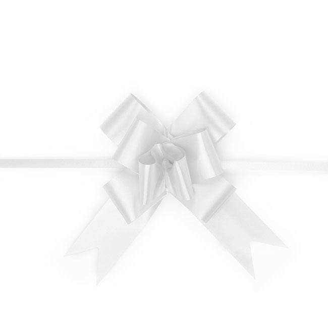 Ribbon Pull Bow 25 Pack White (32mmx53cm)