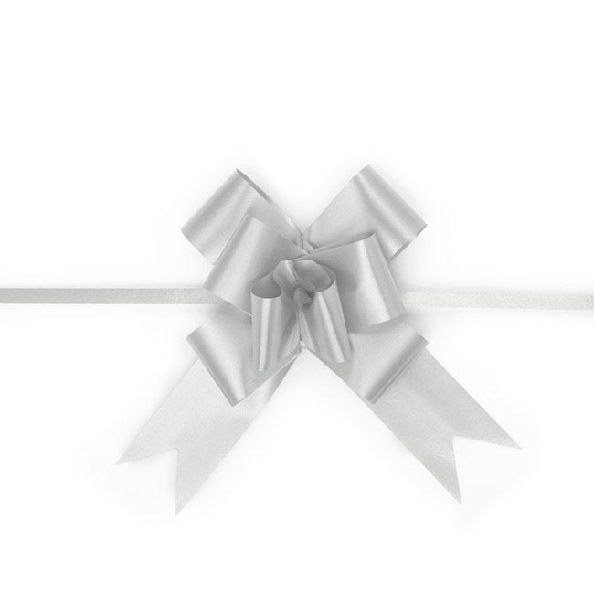 Ribbon Pull Bow 25 Pack Silver (32mmx53cm)
