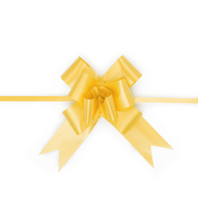 Pull Bows - Ribbon Pull Bow Yellow (32mmx53cm) Pack 25