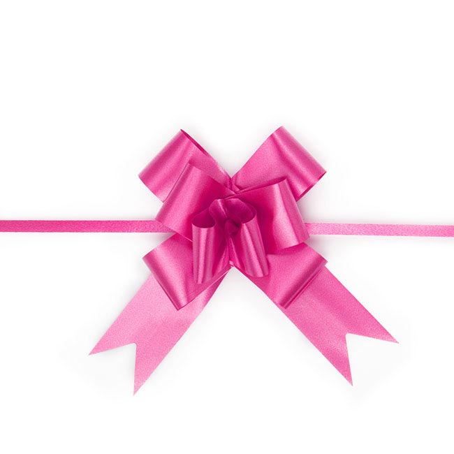 Ribbon Pull Bow 25 Pack HotPink (32mmx53cm)