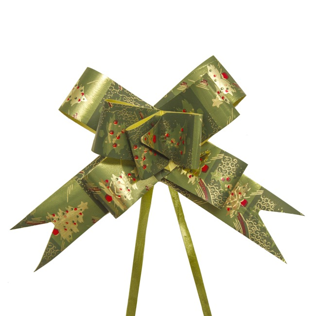 Christmas Ribbon & Bows - Ribbon Pull Bow Tree Green (32mmx53cm) Pack 25