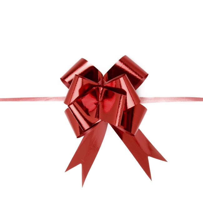 Ribbon Pull Bow 25 Pack Metallic Red (32mmx53cm)