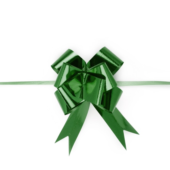 Pull Bows - Ribbon Pull Bow Metallic Green (32mmx53cm) Pack 25