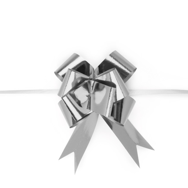 Ribbon Pull Bow 25 Pack Metallic Silver (32mmx53cm)