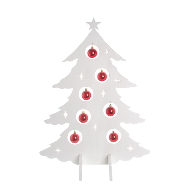Tree Decoration with Baubles White Red (52x70cmH)